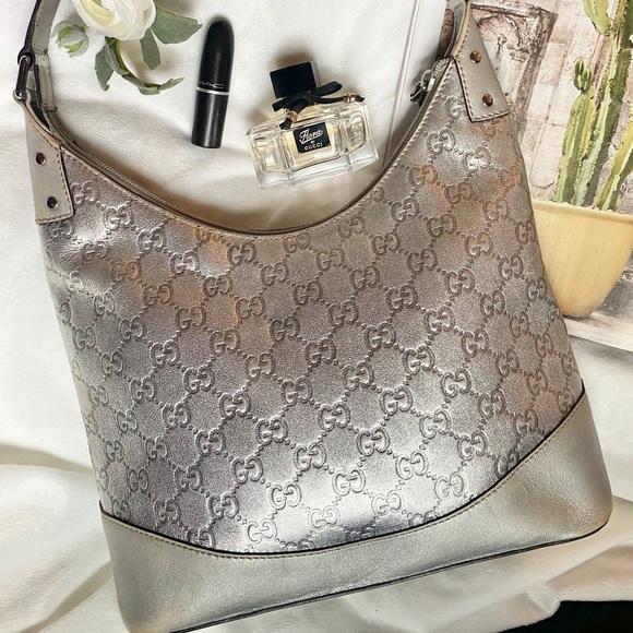 GUCCI Guccissima Leather Hobo Metallic Silver Bag